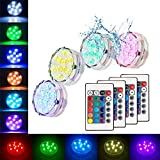 Submersible Led Lights Waterproof Multi-color Battery Remote Control, Party Perfect Decorative Lighting, Suitable for Aquarium Lights, Christmas, Halloween, Etc. IP68 Waterproof Rating (4Pack) Photo, best price $15.49 new 2019