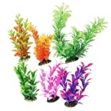 CNZ 6 Piece, Assorted Color Aquarium Plastic Plant Decoration with Ceramic Base Photo, best price $6.99 new 2019